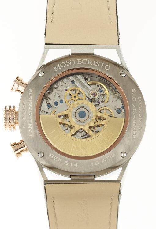 Cronografo automatico Locman in acciaio e titanio PVD e cinturino in pelle nera 0514V13-RNBKWPSK