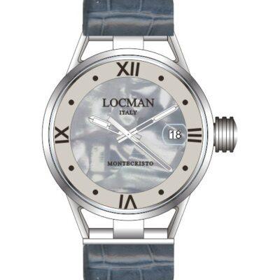 Locman Donna Montecristo Lady Solo tempo acciaio e titanio con cinturino in pelle blu - 0521V02-00MA00PA