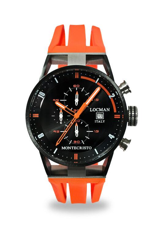 Orologio Locman Uomo Collezione Montecristo Crono in Acciaio-Titanio PVD BK con cinturino in silicone arancio 0510KNBKFOR0GOO