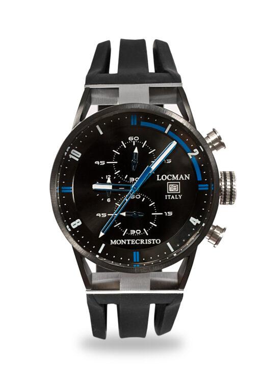 Orologio Locman Uomo Collezione Montecristo Crono in Acciaio-Titanio PVD con cinturino in silicone nero 0510KNBKFBL0GOK