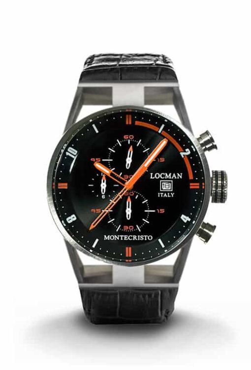 Orologio Locman Montecristo cronografo al quarzo in acciaio e titanio con cinturino in pelle nera 051000BKFOR0PSK