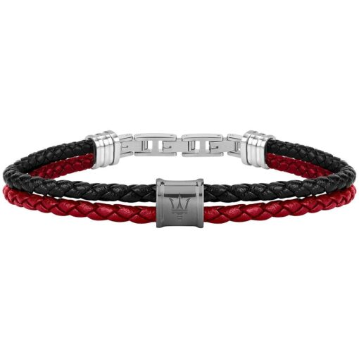 Offerta gioiello bracciale Maserati Uomo Intreccio in Pelle Rosso-Nero JM219AQH23