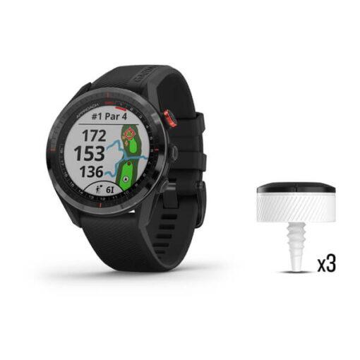 Orologio da golf in offerta, Garmin Approach S62 Bundle 010-02200-02 , nero, con 3 sensori di rilevamento ferri CT10
