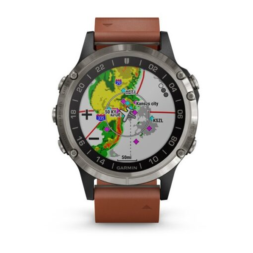 Orologio uomo Garmin 010-01988-31 D2 Delta Aviator Watch Pelle Marrone